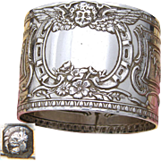 Antique French Sterling Silver Napkin Ring, Empire Style with Winged Cherub Figure