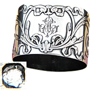 "Elegant Antique French Sterling Silver Napkin Ring, Ornate Bow & Ribbon, ""EM"" Monogram"