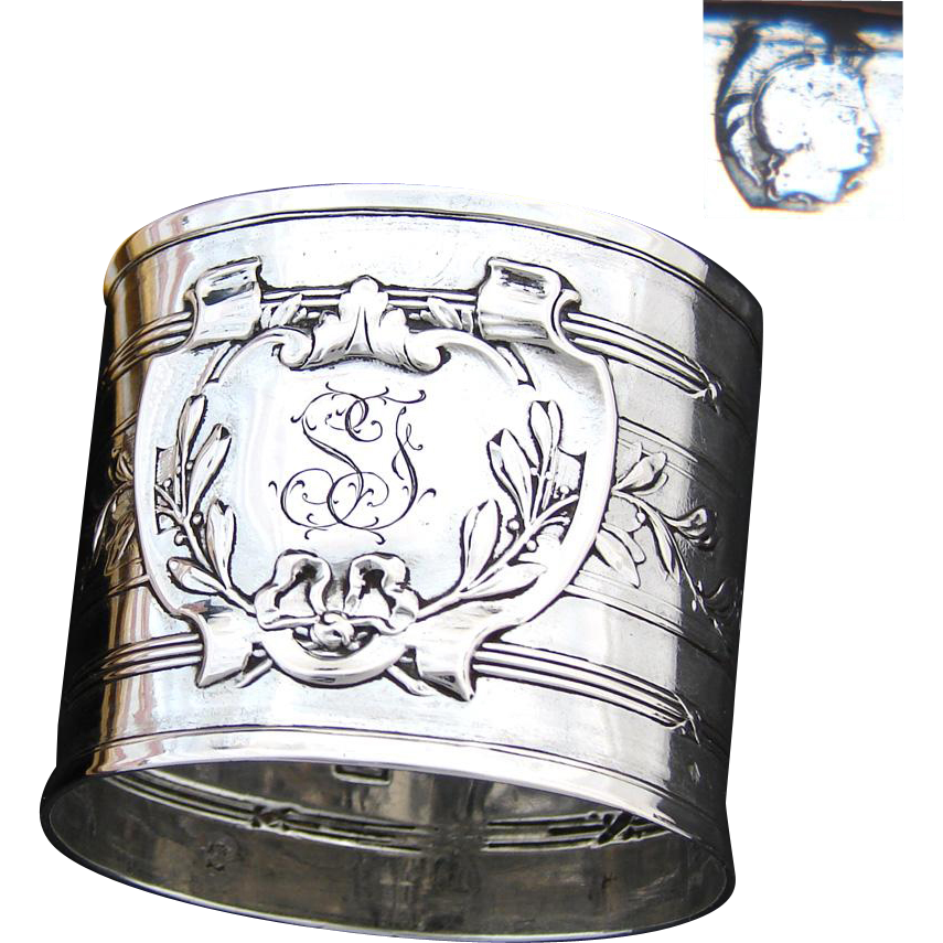 "Antique French .800 (nearly sterling) Silver 2"" Napkin Ring, Laurel Accented Medallion with ""SF"" Monogram"