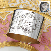 "Antique French Sterling Silver Napkin Ring, ""Maurice, 10 Juin 1900"" Inscription, Engraved Bird"