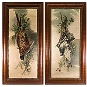 "PAIR: HUGE Antique French Oil Paintings Fruits of the Hunt, Artist, M.l. Wicarl (?) c. 1900-15, Frame 44"" x 22"""