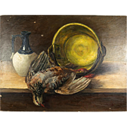 Antique Artist Signed French Still Life, Nature Morte, Fruits of the Hunt Theme, Oil Painting on Board