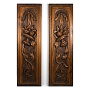 """PAIR: Hand Carved Black Forest or French Wood Panels to Hang or Build Into Cabinetry, 21.5"""" Tall, 6.5"""" wide"""