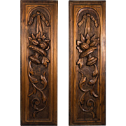 "PAIR: Hand Carved Black Forest or French Wood Panels to Hang or Build Into Cabinetry, 21.5"" Tall, 6.5"" wide"