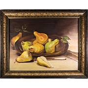 "Antique French Oil Painting on Canvas, Pears, Fruit Still Life, Eastlake Frame 24"" x 19"""