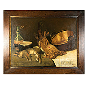 "Antique French Oil Painting, Fruits of the Hunt, ""Nature Morte"" with Rabbits, in Frame, 20"" x 16"""
