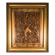"""Antique French Carved Wood Panel in Frame, Acanthus and Shield Paneling, Door, 27"""" x 23"""""""