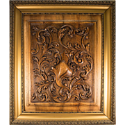 "Antique French Carved Wood Panel in Frame, Acanthus and Shield Paneling, Door, 27"" x 23"""