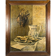"Antique French Oil Painting, Fruits of the Hunt, Trompe l'oeil Birds with Oysters & Pitcher, in Frame, 25.5"" x 20.5"""