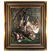 "Listed Artist, Important Antique French Oil Painting, ""Nature Morte"", Birds, Owl, in Frame"