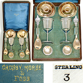 Wonderful Antique Sterling Silver Wedding or Breakfast Set, Shaped Leather Box, Crosby, Morse & Foss, Boston Maker
