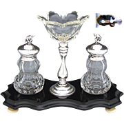 "Antique Dutch Sterling Silver & Cut Crystal 8"" Inkwell with Sander, Bird Figural Finials"
