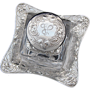 RARE Antique Gorham Sterling Silver Art Nouveau Inkwell & Orig. Base Tray, Brilliant Cut Crystal