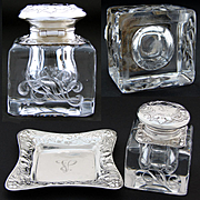Additional images for 417rgor, Antique Gorham Sterling Silver & Brilliant Cut Crystal Art Nouveau Inkwell & Base Tray