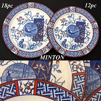 "RARE 30pc Antique Minton ""Faisan"" Imari 10"" & 8 5/8"" Plate Set, Chinoiserie w/ Bird, 1891 Date Marks"