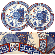 "RARE 30pc Antique Minton ""Faisan"" Imari 10"" & 8 5/8"" Plate Set, Chinoiserie w/ Bird, 1891 Date Marks"