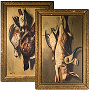 "PAIR: Antique French Oil Paintings Fruits of the Hunt, Artist, Augeard. G. (?) c. 1848, Frame 25"" x 16.5"""