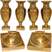 Additional image for 417rurns, Antique KPM Gilt Urn or Vase Pair, Figural Paintings, Armorial Crown Topped Crests