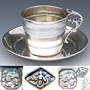 Antique French Sterling Silver Tea Cup & Saucer, Possibly Demitasse Espresso Size, c. 1890s