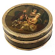 IMPORTANT Antique French Oil Painting, Vernis Martin Snuff Box, Marie-Antoinette, c.1700s