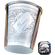"Antique French Sterling Silver Wine or Mint Julep Cup, ""Timbale"" with Guilloche Decoration & ""Yvonne"" Inscription"