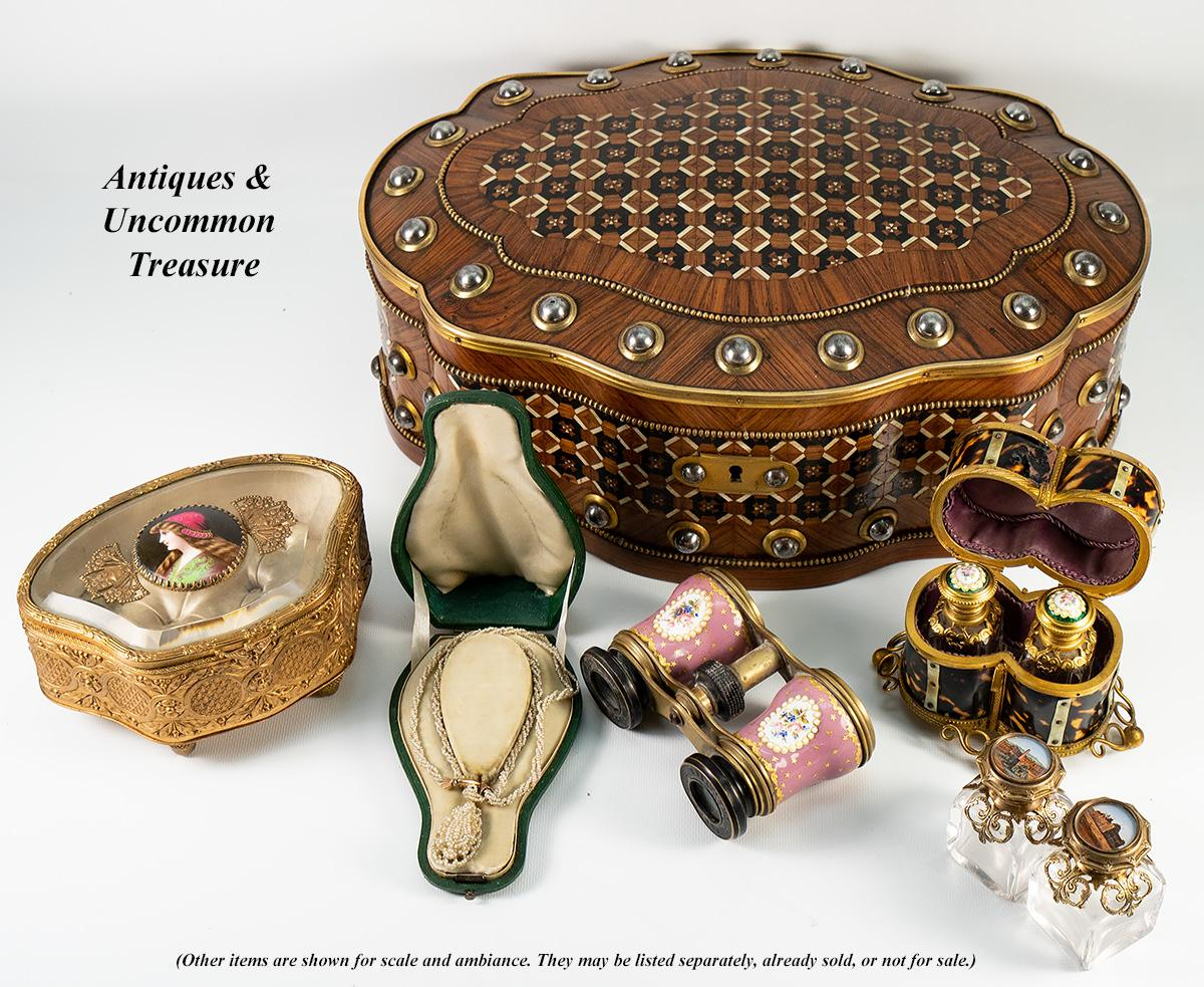 Ambiance Et Style Poitiers details about antique french jewelry casket, box, glass top, kiln-fired  portrait of st. helen
