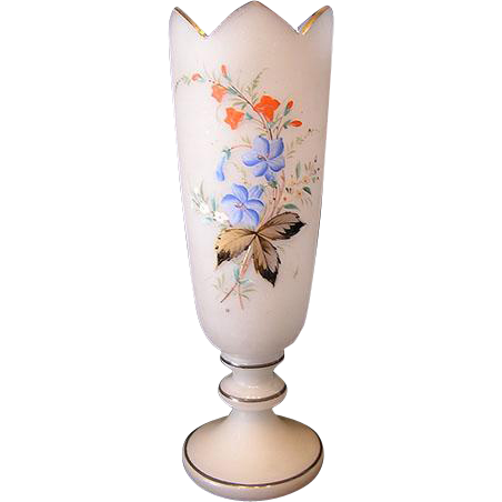 Superb HUGE 19th C.-1920 French Opaline Footed Vase, Floral Enamel!