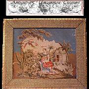 Superb 19th C. Figural Needlepoint Tapestry, Gilt Gesso & Wood Frame