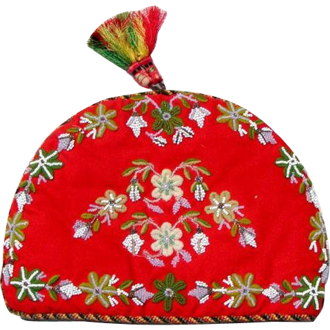 Fun Victorian Beadwork Chenille Embroidery Tea Cozy - Christmas Colors!