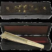 Fab Antique Chinoiserie Papier Mache or Oriental Lacquer Fan Box Casket