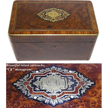 "Fab LG Antique Napoleon III Burled 10"" Tea or Desk Box, CK Monogram"