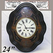 """Antique French Marquetry Boulle Inlay 24"""" Parlor Clock"""