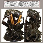 LG Antique Black Forest Cigar Caddy, Mountain Goat & Fox!