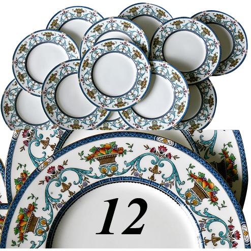 Superb Set: 12 Vintage MINTON Dinner Plates, c. 1923