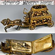 RAREST 1820-40 Palais Royal Sewing Etui - Faux Tortoise Shell & French Dore Bronze Carriage & Bronze Horse -