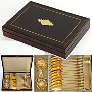 Antique French 18K Gold Vermeil on .800/1000 Silver 15pc Tea Service, Rosewood Box
