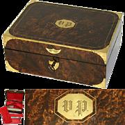 Museum Antique Napoleon Era Campaign Dressing Box, Rich Burl & Brass