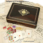 "Antique Napoleon III 12"" Rosewood Game Box, Elegant Inlays"
