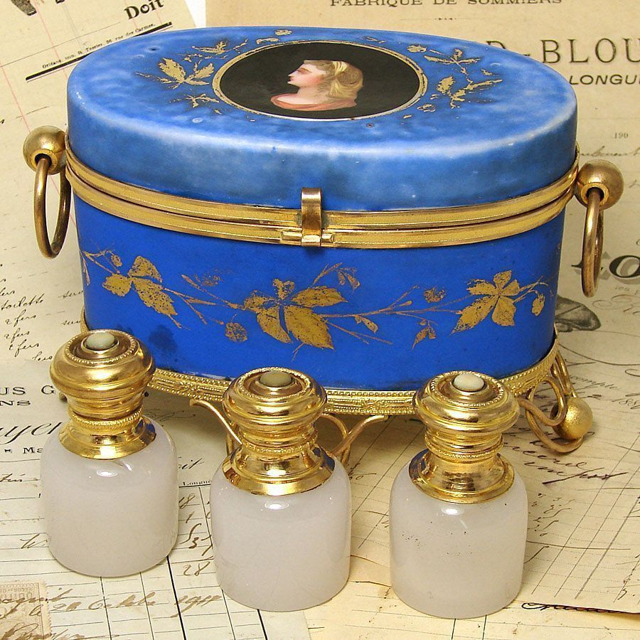 Superb Antique HP Porcelain Perfume Casket, 3 Opaline Scents