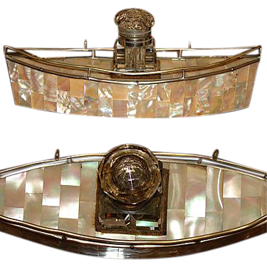 Antique Victorian Era Mother of Pearl Boat, Inkwell or Inkstand