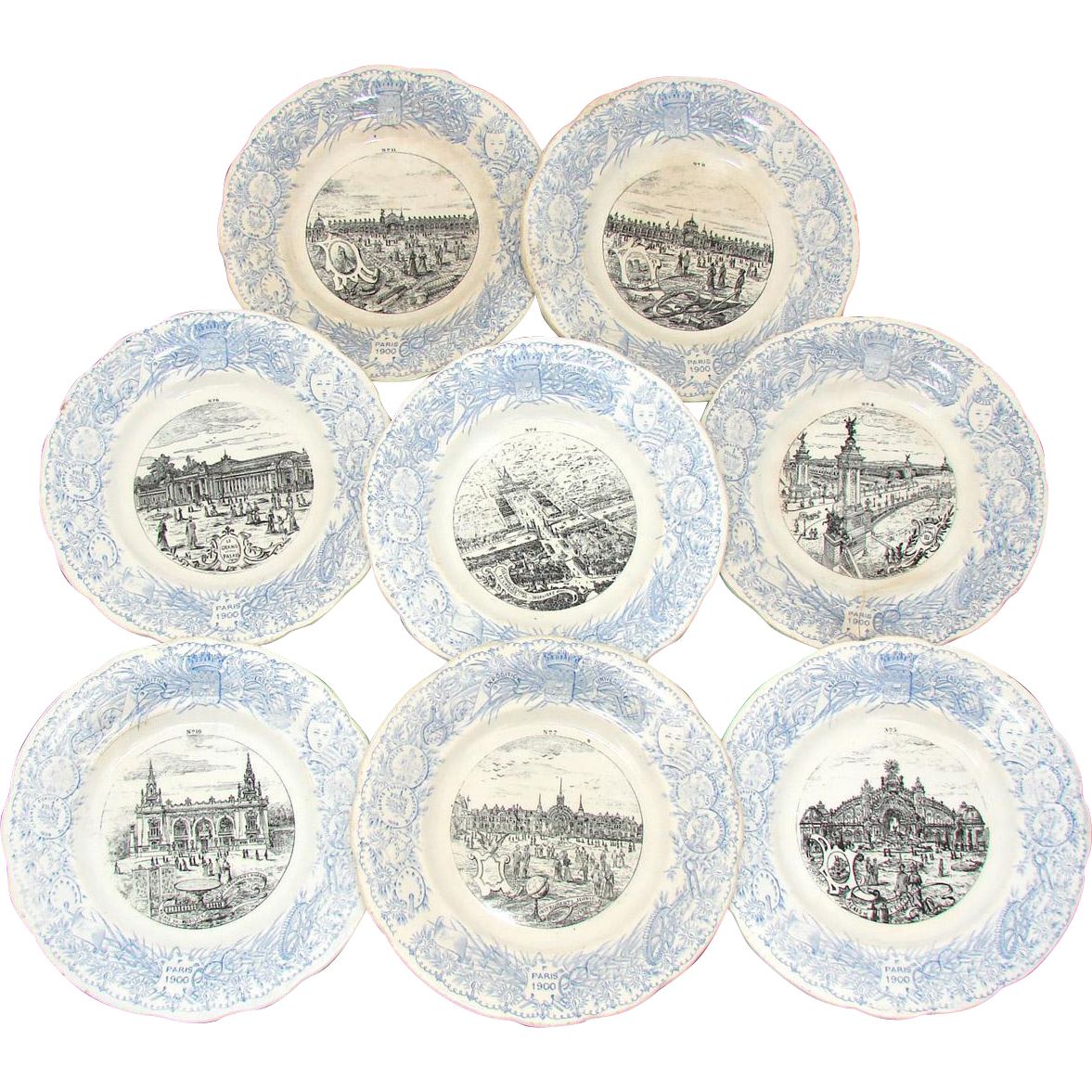 "FABU 8pc Antique Antique World Expo 8"" Cabinet Plate Set, Paris 1900"