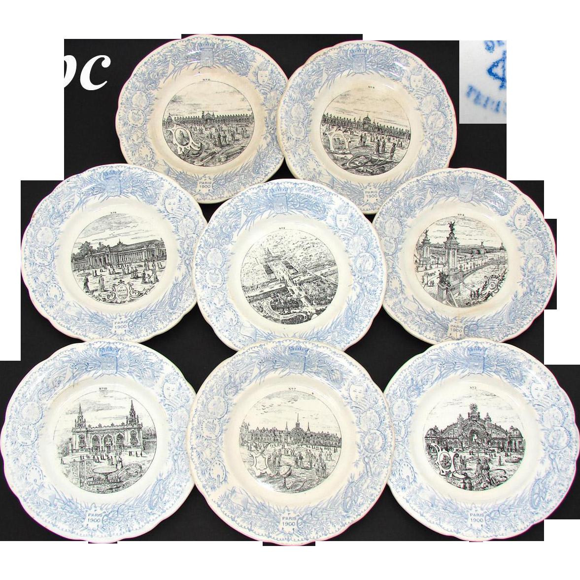 """FABU 8pc Antique Antique World Expo 8"""" Cabinet Plate Set, Paris 1900"""