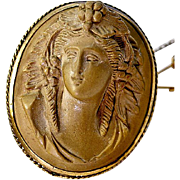 Antique Victorian Carved Lava Cameo, 12k Gold Brooch - Large and superb!