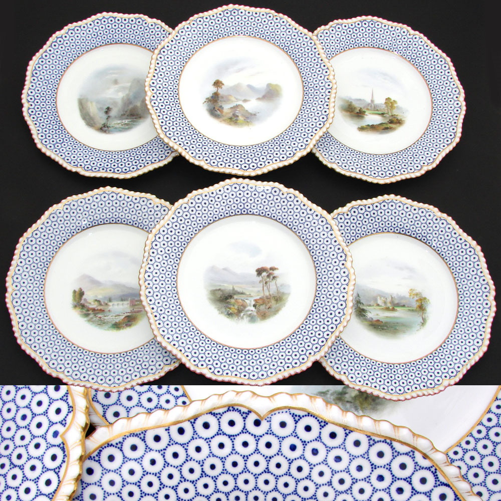 Antique Royal Worcester Set of 6 Scenic Cabinet Plates - 1901-12 date mark, hand painted views