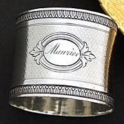 "Antique French Sterling Silver Napkin Ring, ""Maurice"" Inscription"