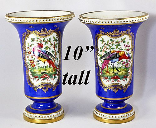"Exquisite Antique 10"" Pair of French Mantel Vases, Ovington - French made for Ovington, NYC"