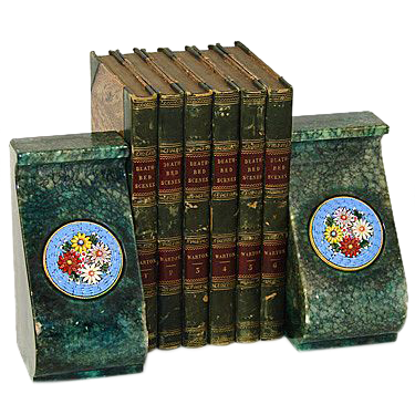 Fine Vintage Italian Bookend Pair, Floral Micro Mosaic Medallions
