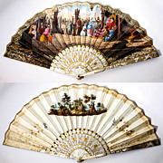 Antique French Fan, Mother of Pearl, Gold, Hand Painted c. 1820