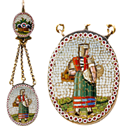 Antique 15k Gold Mounted Figural Micro Mosaic for Pendant Use - Micromosaic