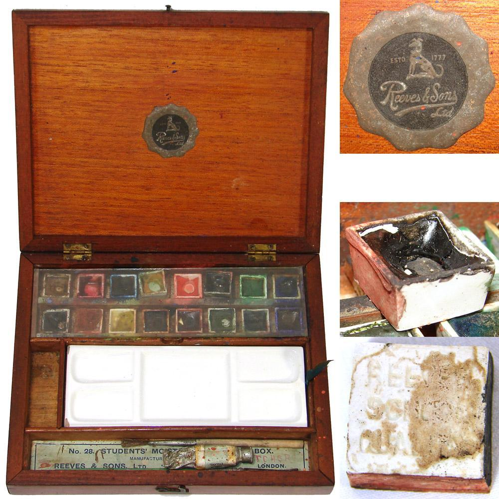 Antique English Reeves & Sons Water Color Painter's Box, Ceramic Palette, Pots